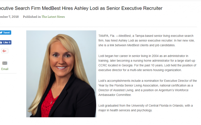 Ashley Lodi, Senior Executive Recruiter, Featured in Senior Living Publications
